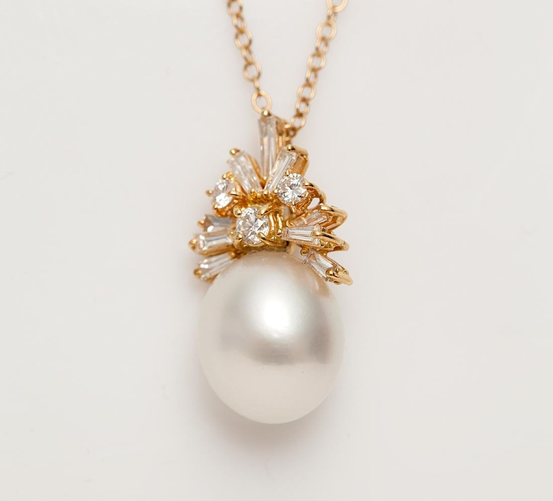 A diamond, cultured pearl, 14k pendant enhancer and