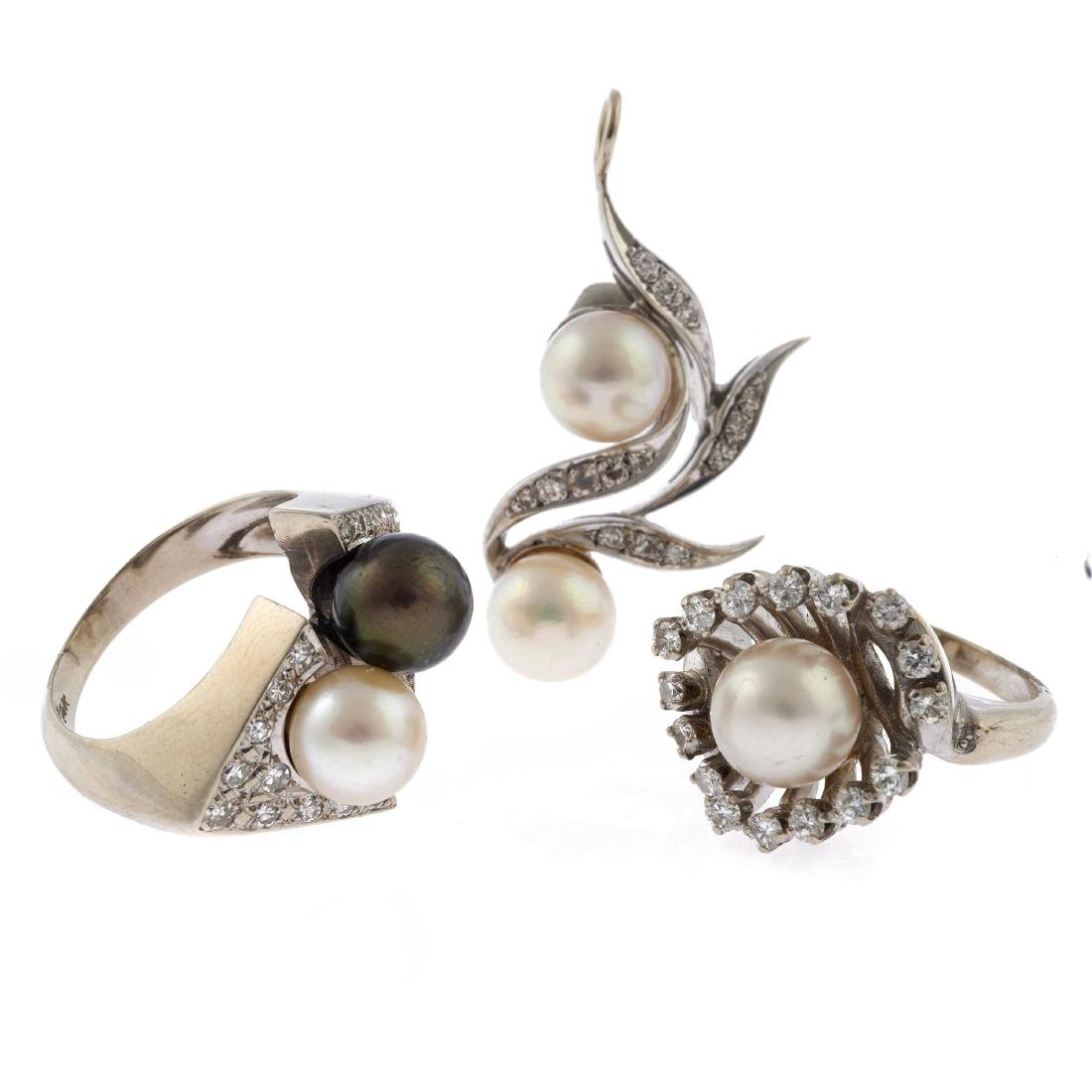 A collection of diamond, cultured pearl, white gold