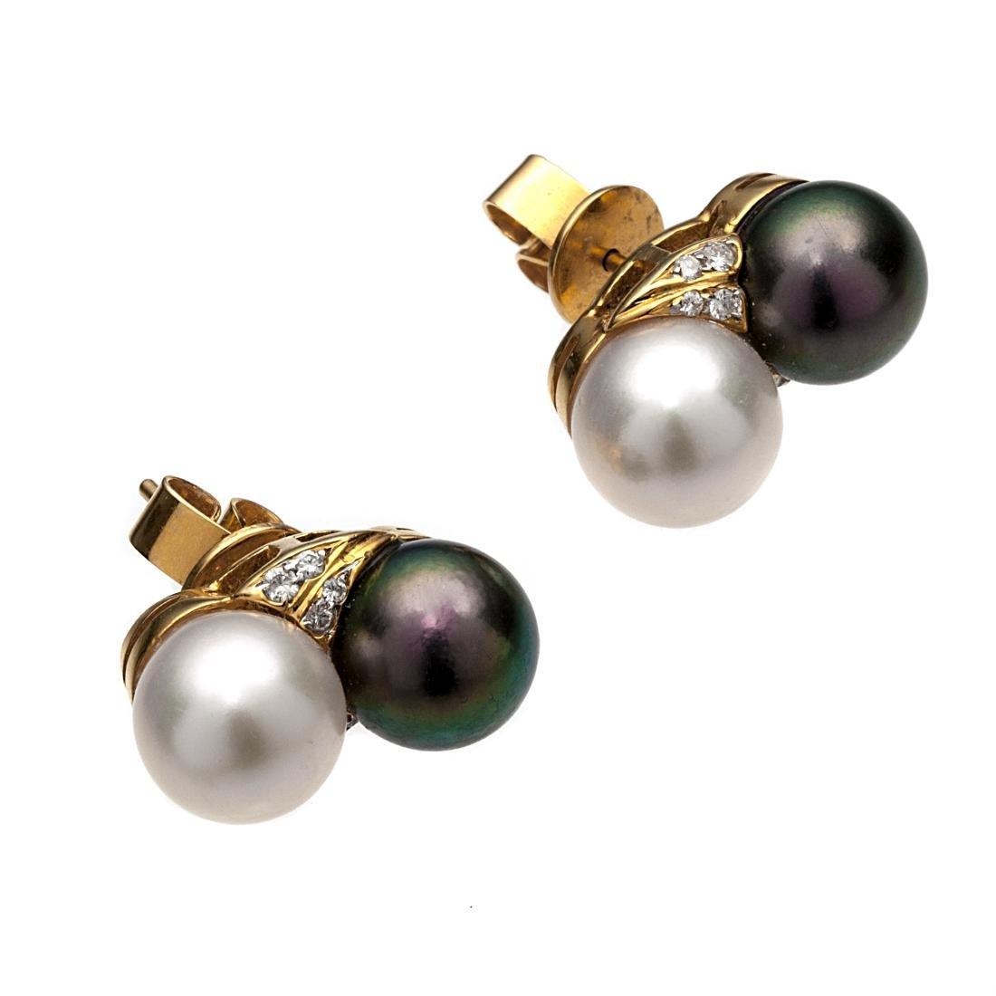 A pair of diamond, cultured pearl, 18k earrings