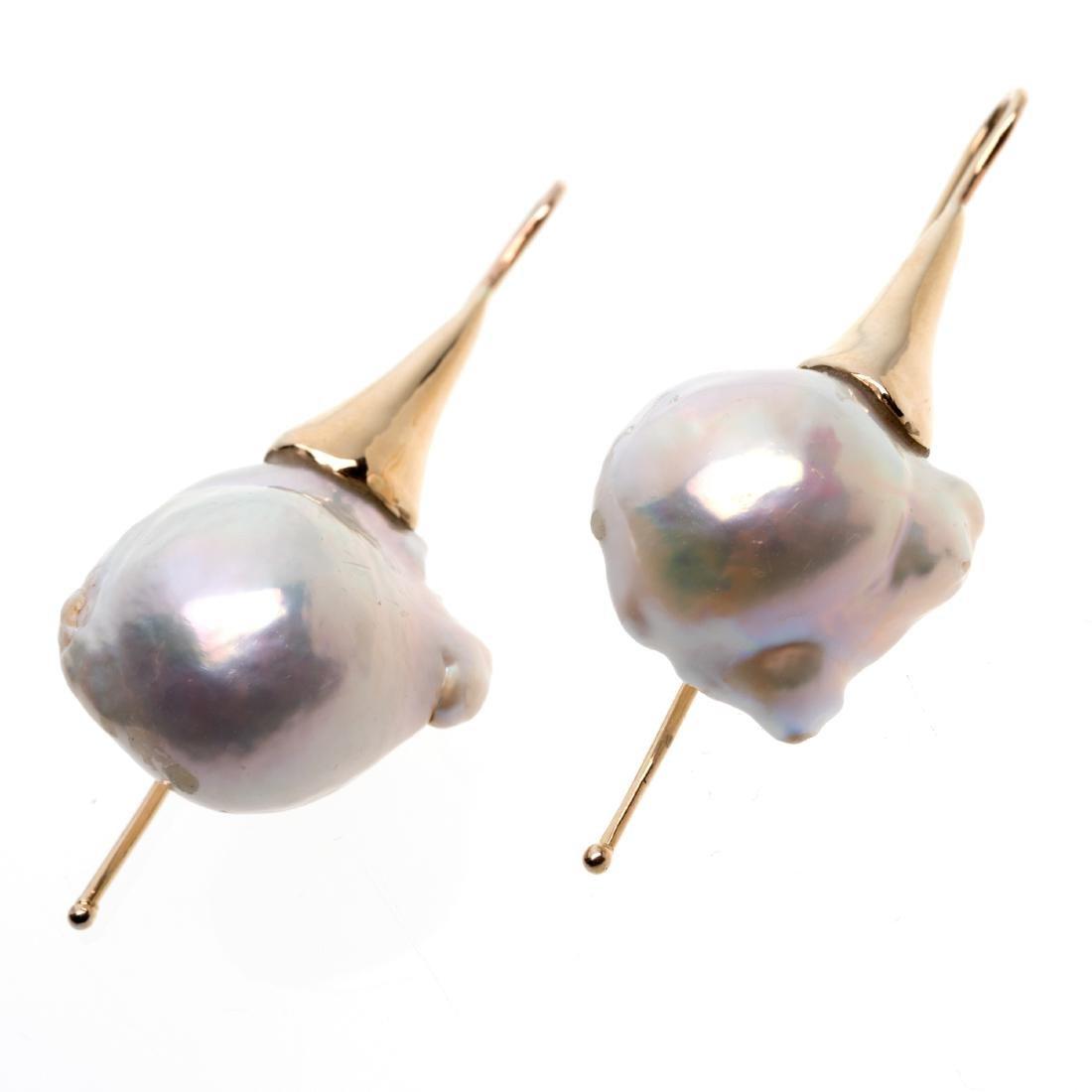 A pair of cultured pearl, 14k earrings