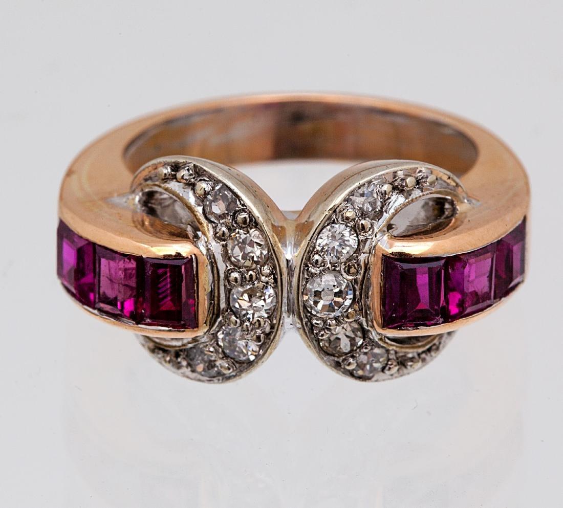 A Retro diamond, ruby, 14k rose gold ring