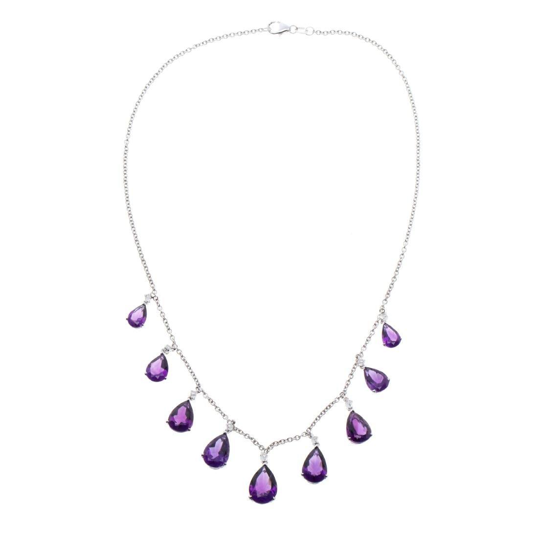A diamond, amethyst, 18k necklace