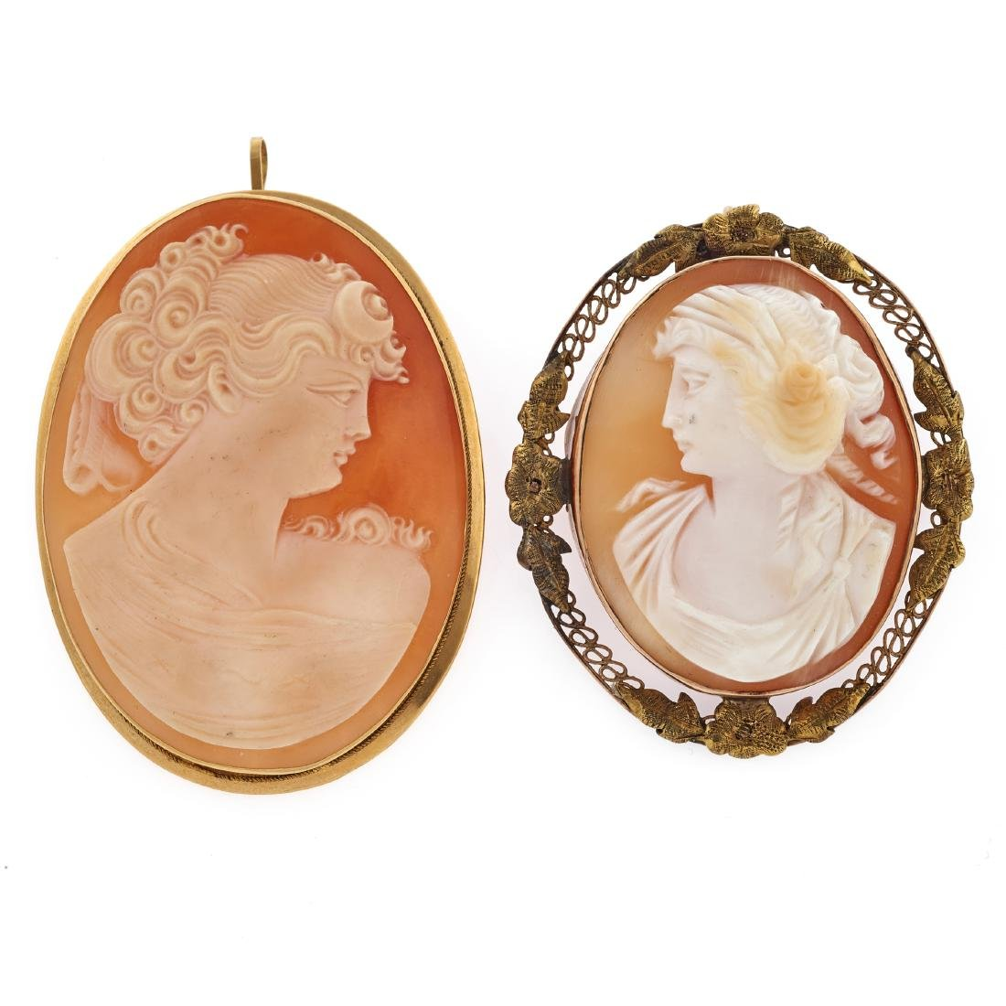 A collection of two shell, yellow gold cameos