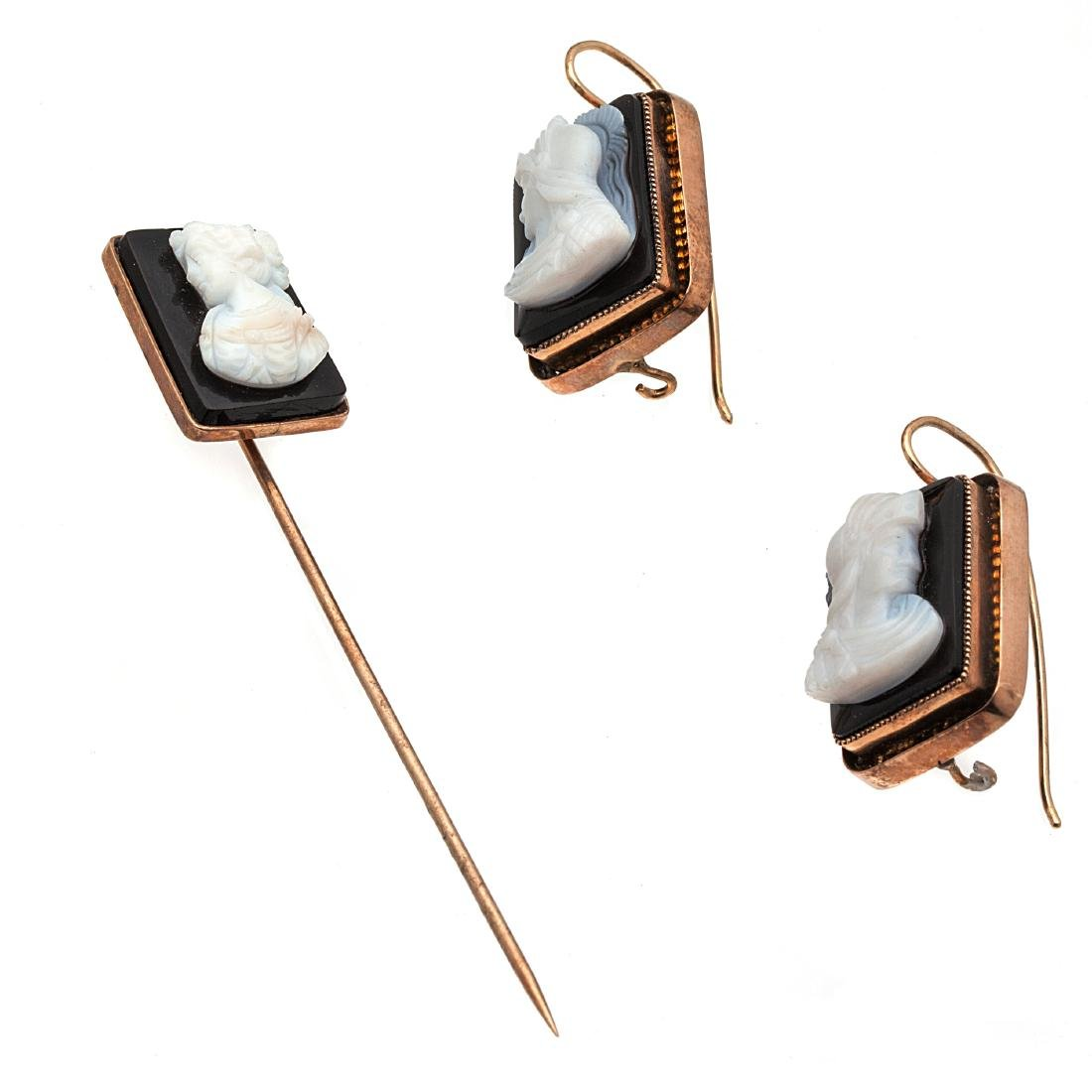 A collection of onyx cameo, rose gold jewelry