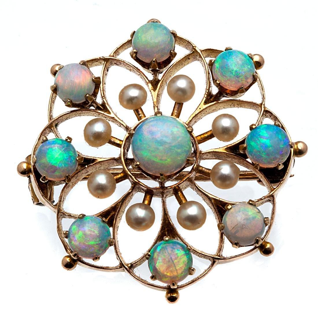 An opal, pearl, 14k rose gold pin
