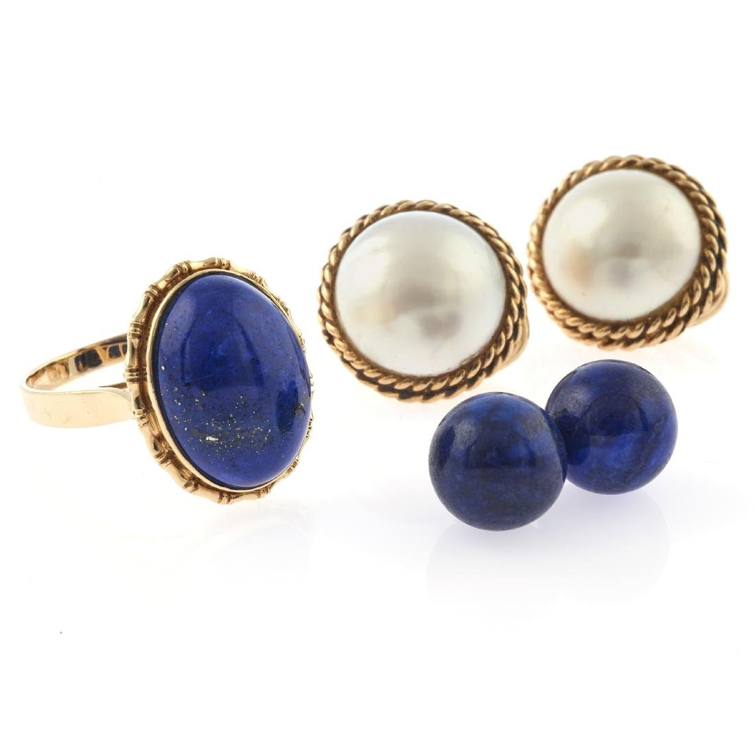 A collection of lapis lazuli, cultured pearl, 14k