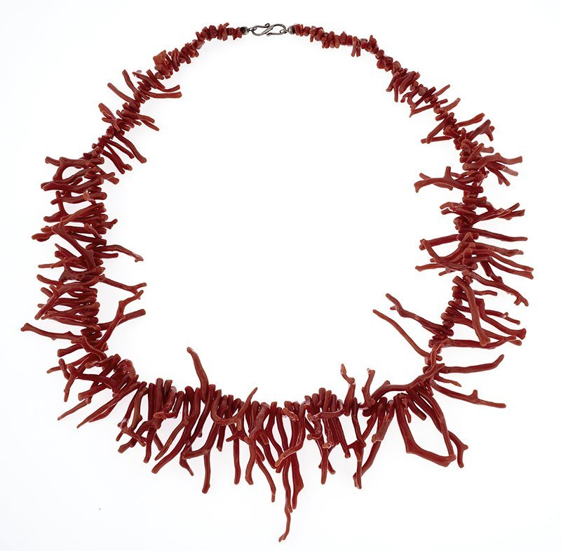 A branch coral, sterling silver necklace