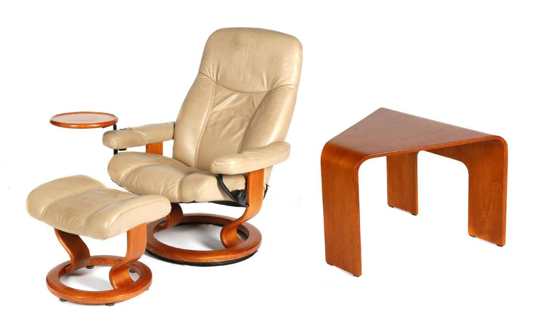 Ekornes leather chair with ottoman