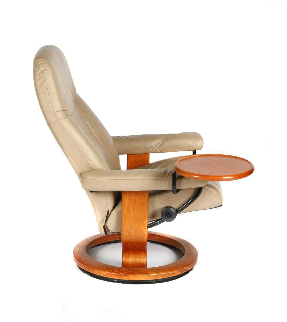 Ekornes leather chair with ottoman - 2