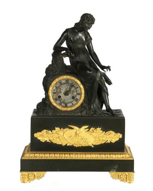 French Empire style figural mantle clock