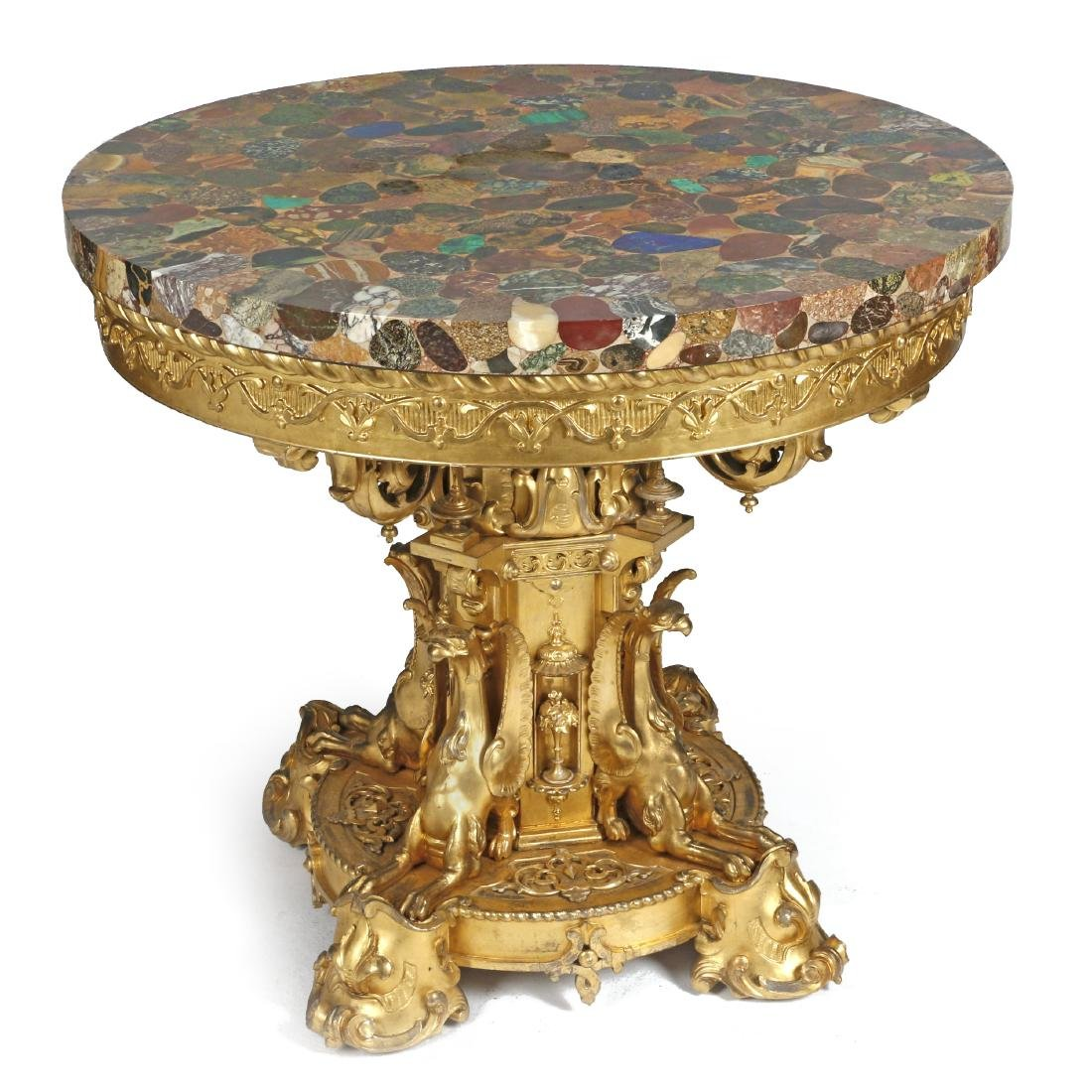 A Gothic Revival gilt wood table with specimen stone