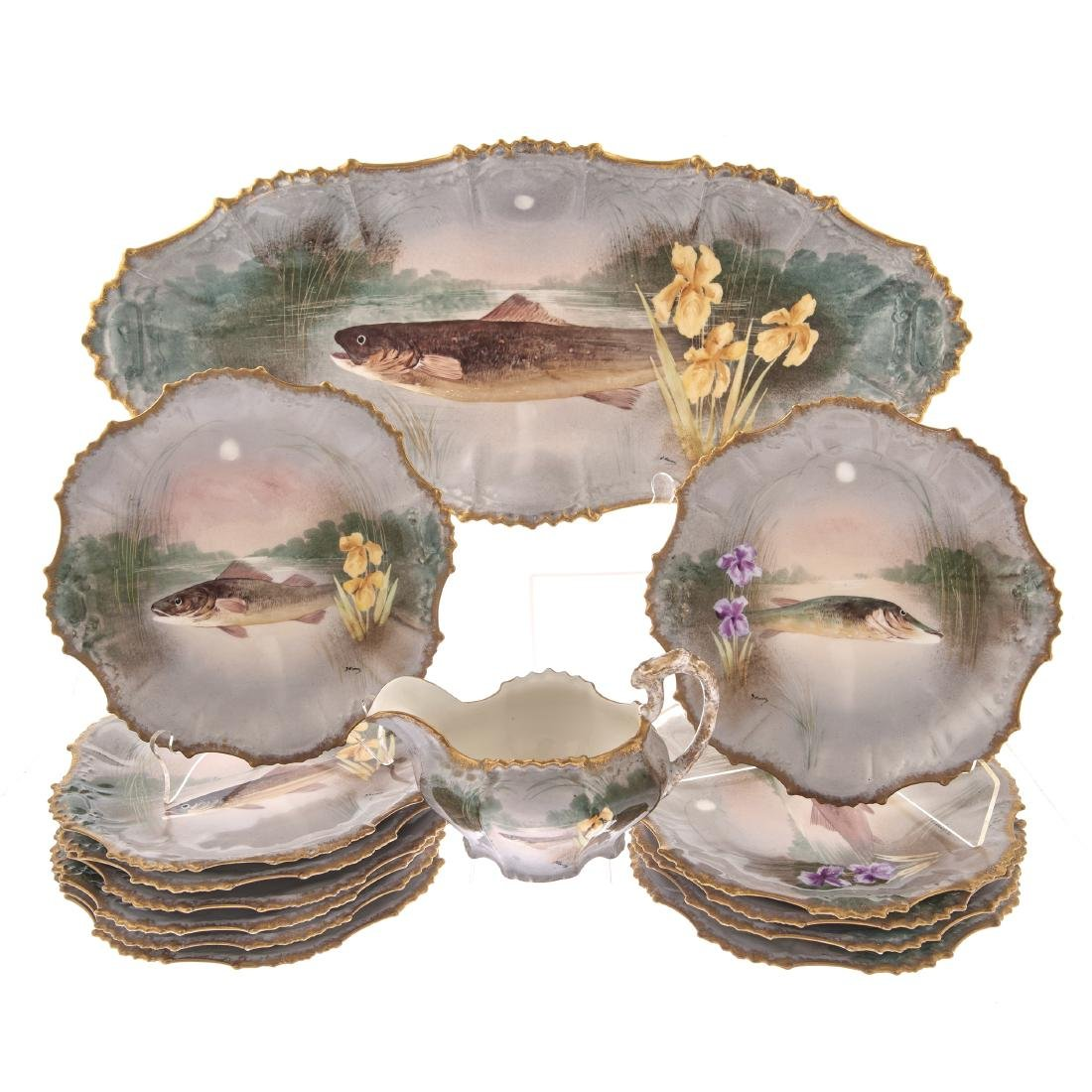 A French Limoges Fish Service