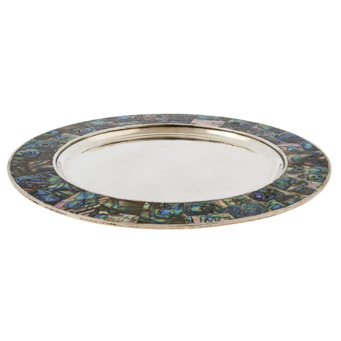 A Mexican silver plated tray with inlaid abalone shell