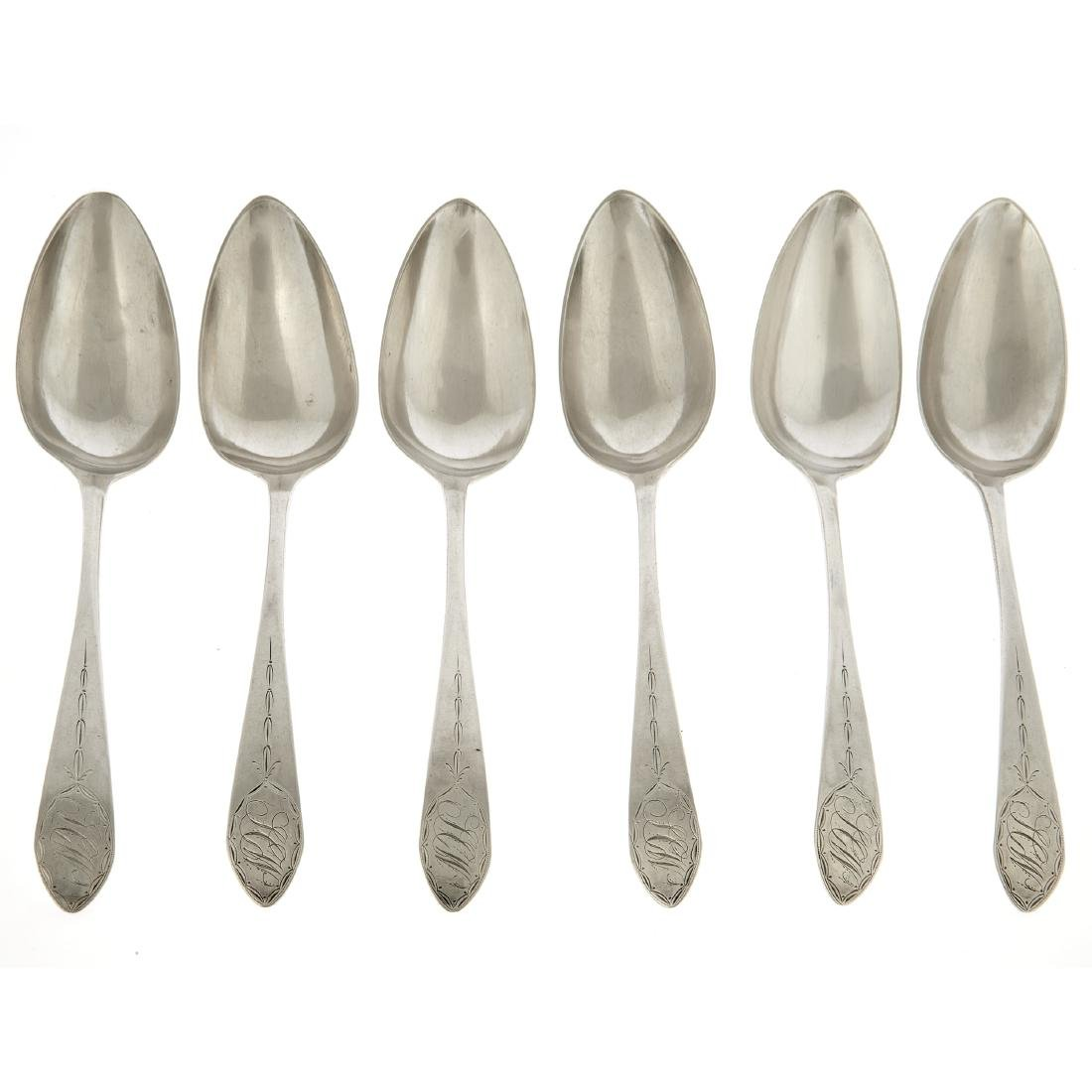 An American silver set of six tablespoons by John