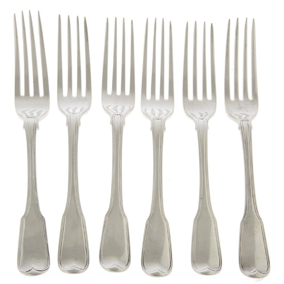 An English silver assembled set of six table forks,