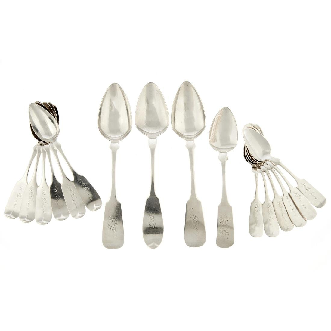 A coin silver group of Fiddle pattern spoons