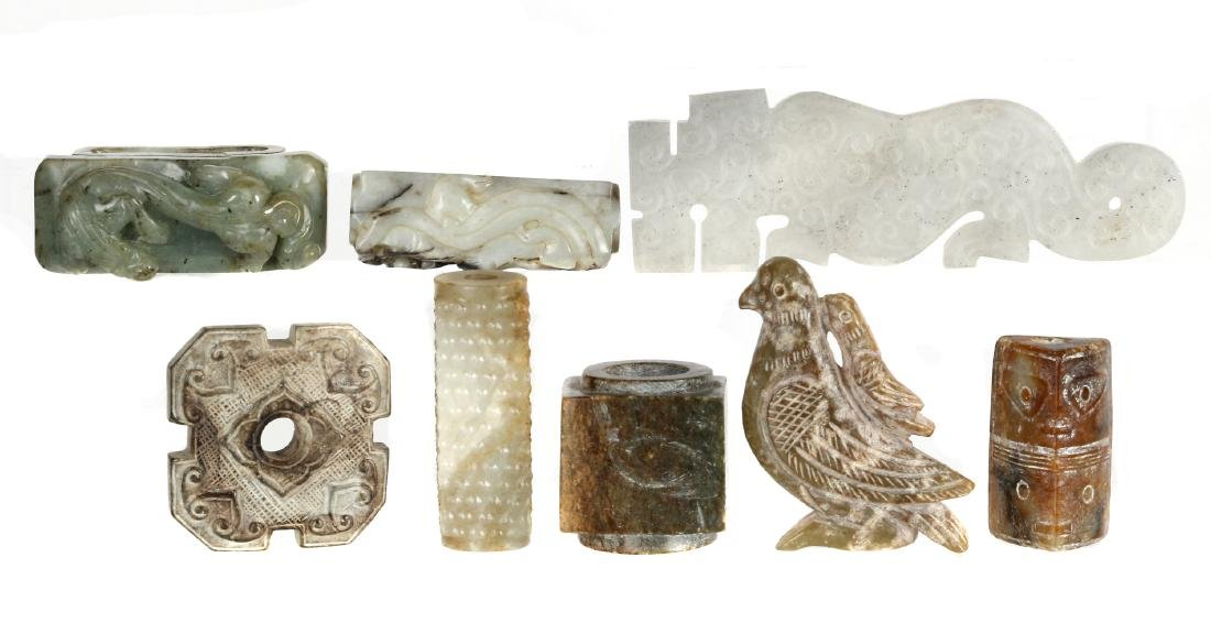 Eight Chinese archaistic jade and stone carvings