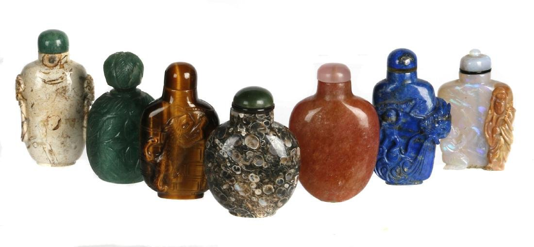 Seven Chinese stone snuff bottles