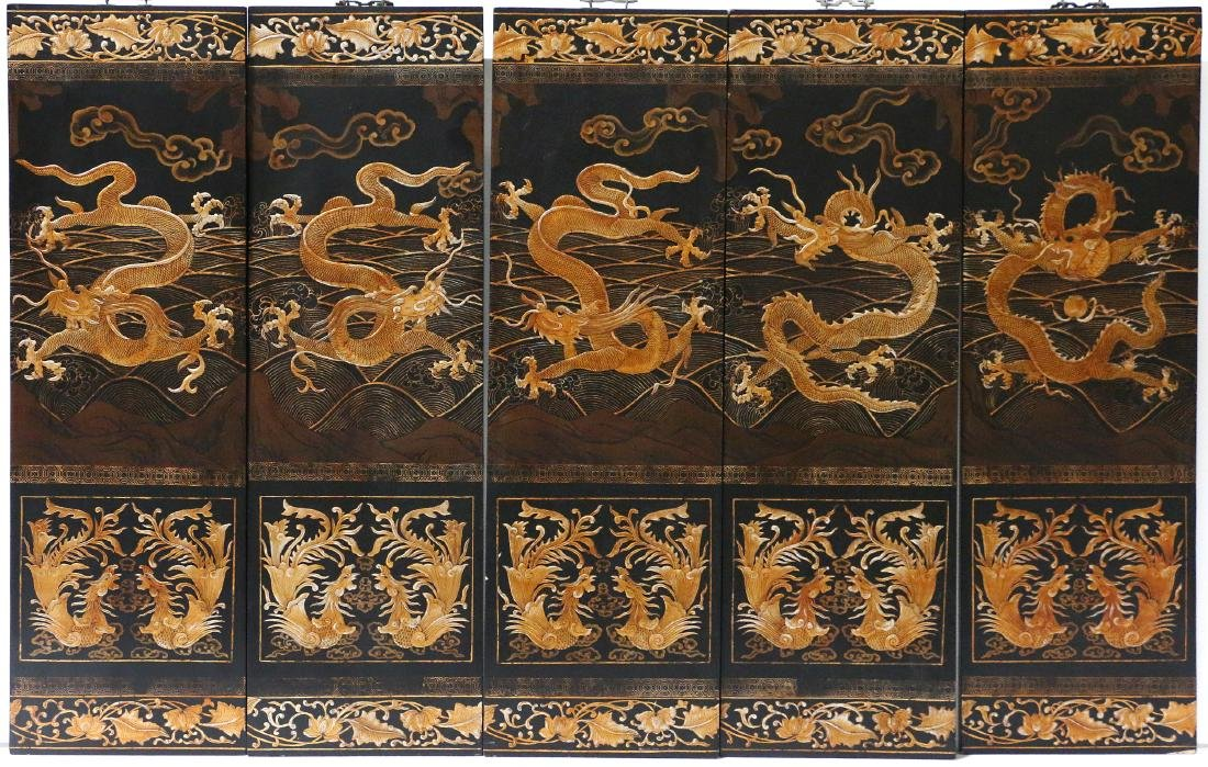 Six Chinese wall panels