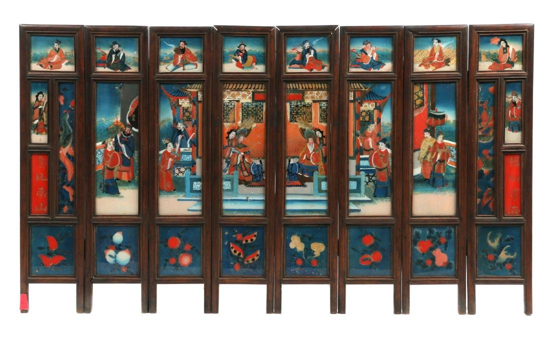A Chinese reverse-painted glass folding screen