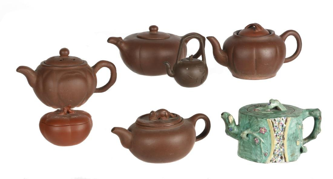 Seven Chinese Yixing clay  tea wares