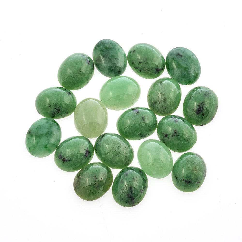 A collection of eighteen unmounted jadeite cabochons