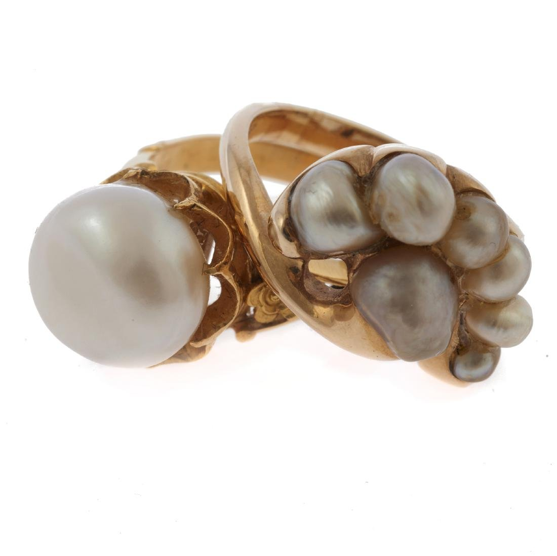 A collection of two cultured pearl, 14k yellow gold