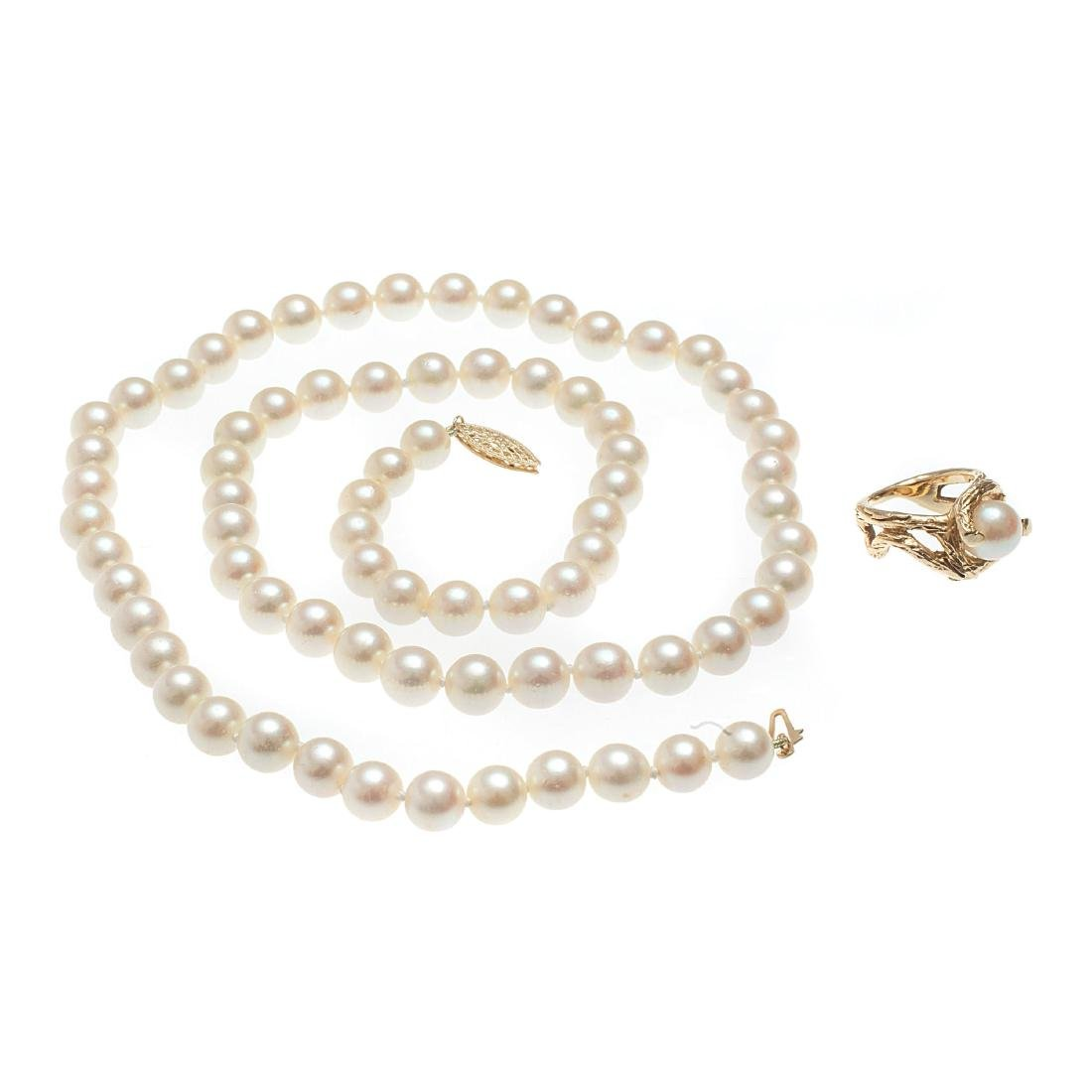 A cultured pearl, 14k yellow gold necklace and ring