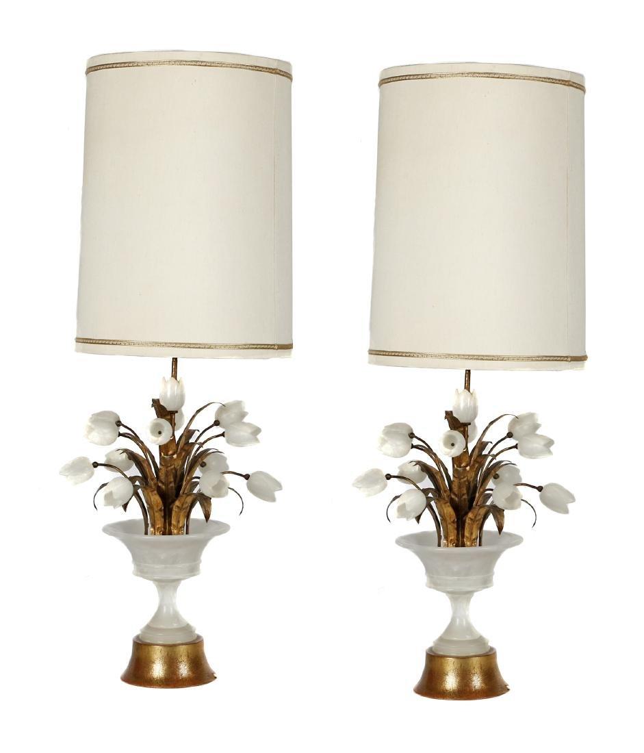 Pair of Hollywood Regency style lamps