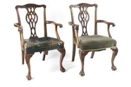 A pair of Chippendale mahogany armchairs