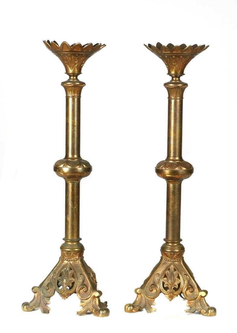 Pair of Gothic Revival brass pricket sticks