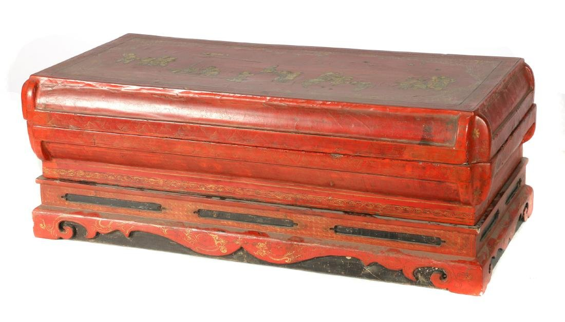A Chinese gilt and lacquer painted wood box and stand