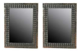 Pair of Brutalist style wall mirrors