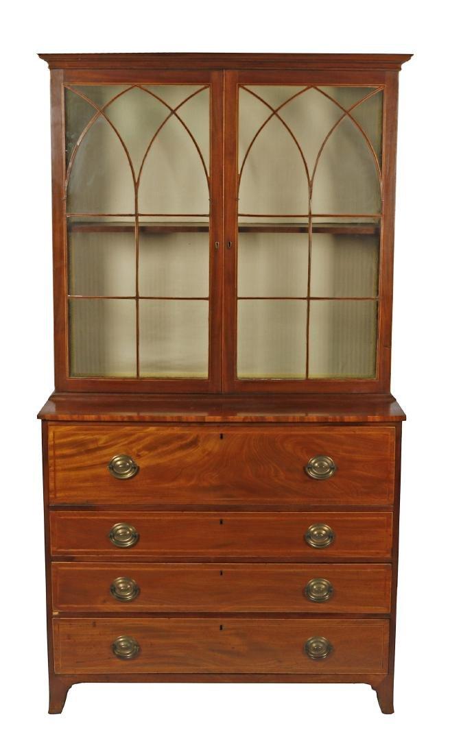 George III satin wood inlaid mahogany secretary