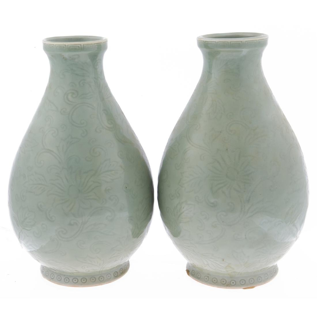 A pair of Chinese celadon glazed vases