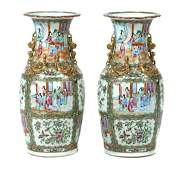 A pair of Canton rose medallion vases