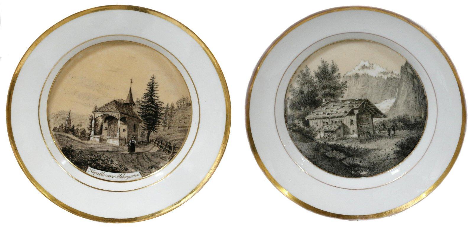 Two KPM porcelain plates