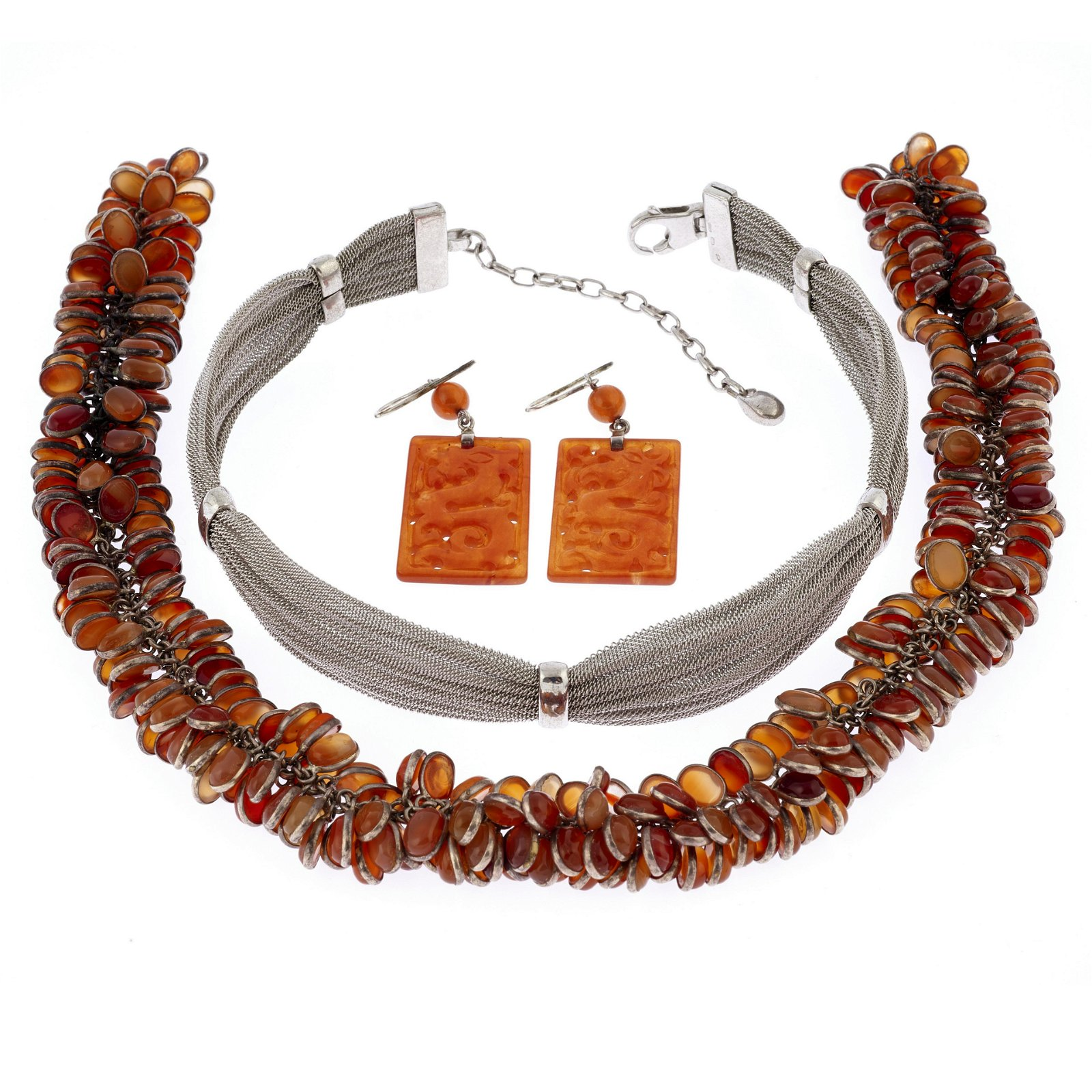 A collection of carnelian, silver jewelry items