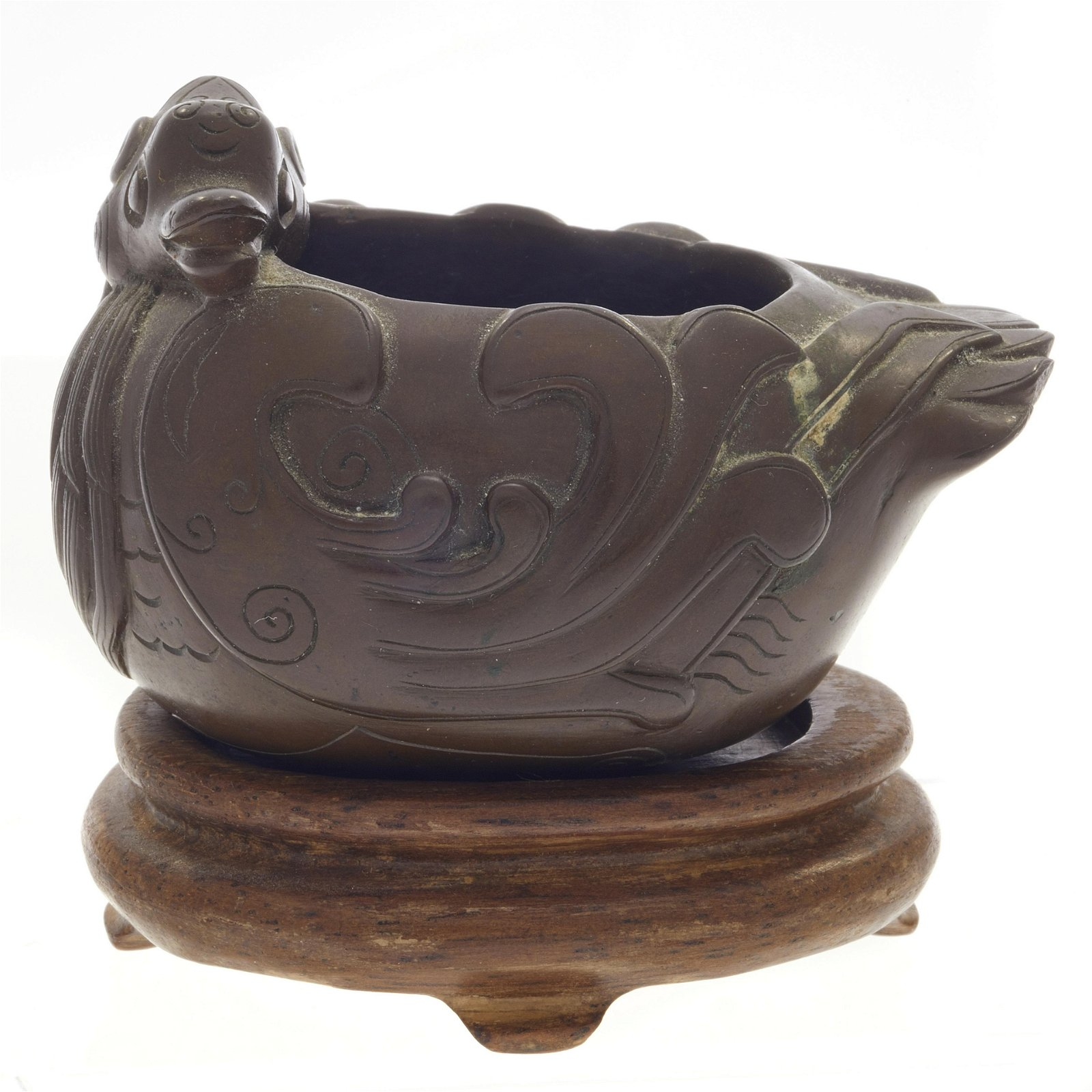 A bronze duck form brush washer, Qing dynasty