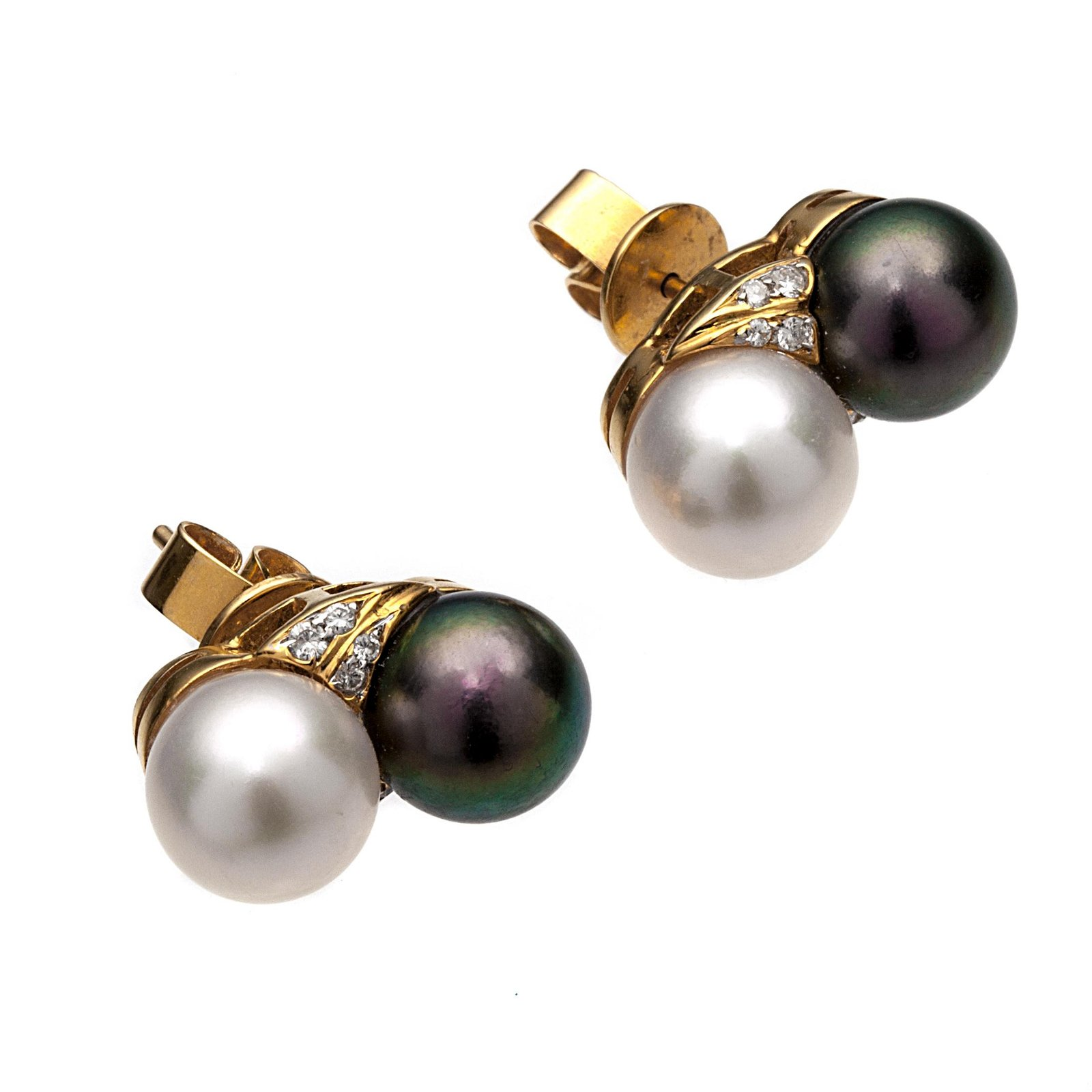 A pair of diamond, cultured pearl, 18k earrings