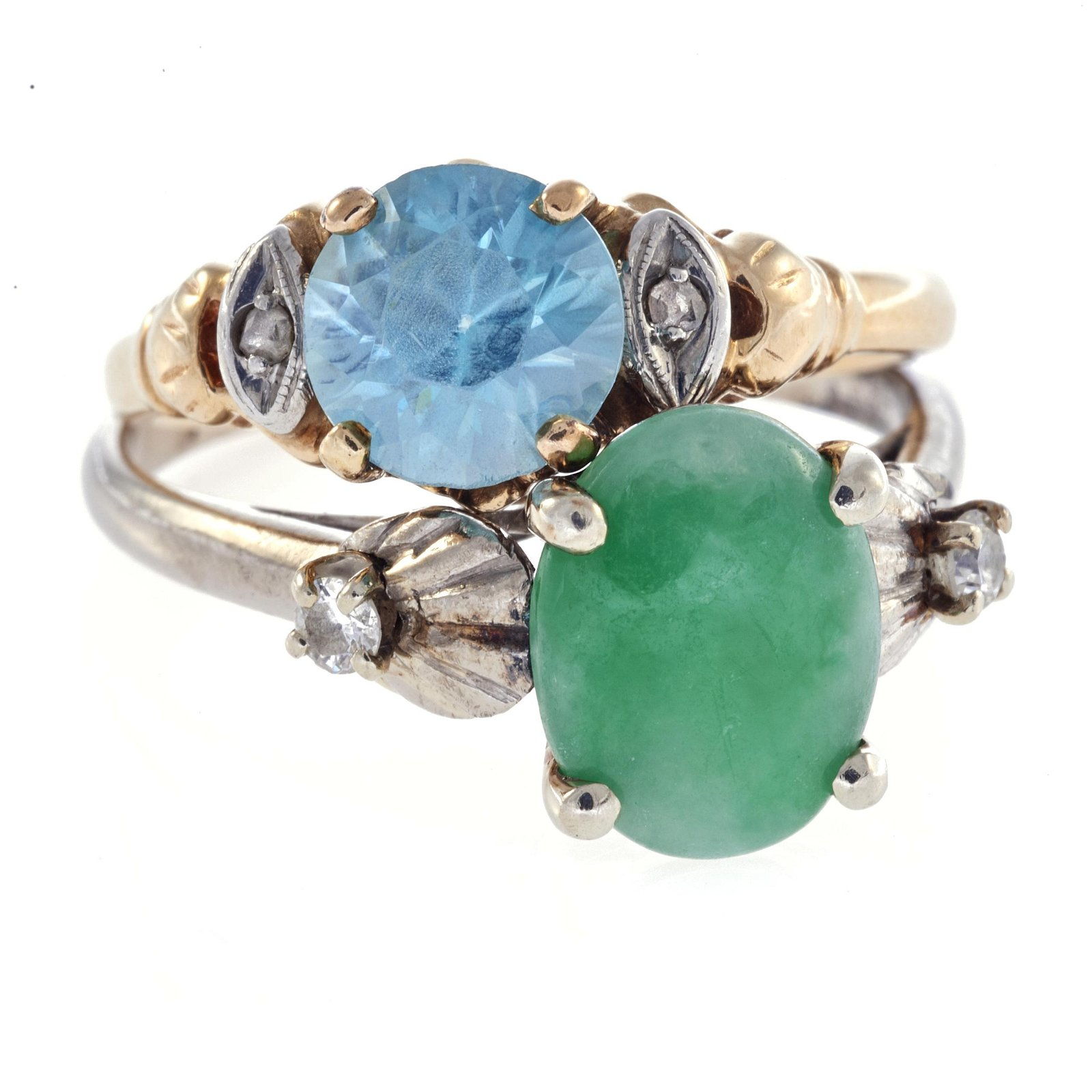 A collection of two diamond, gem set, 14k rings
