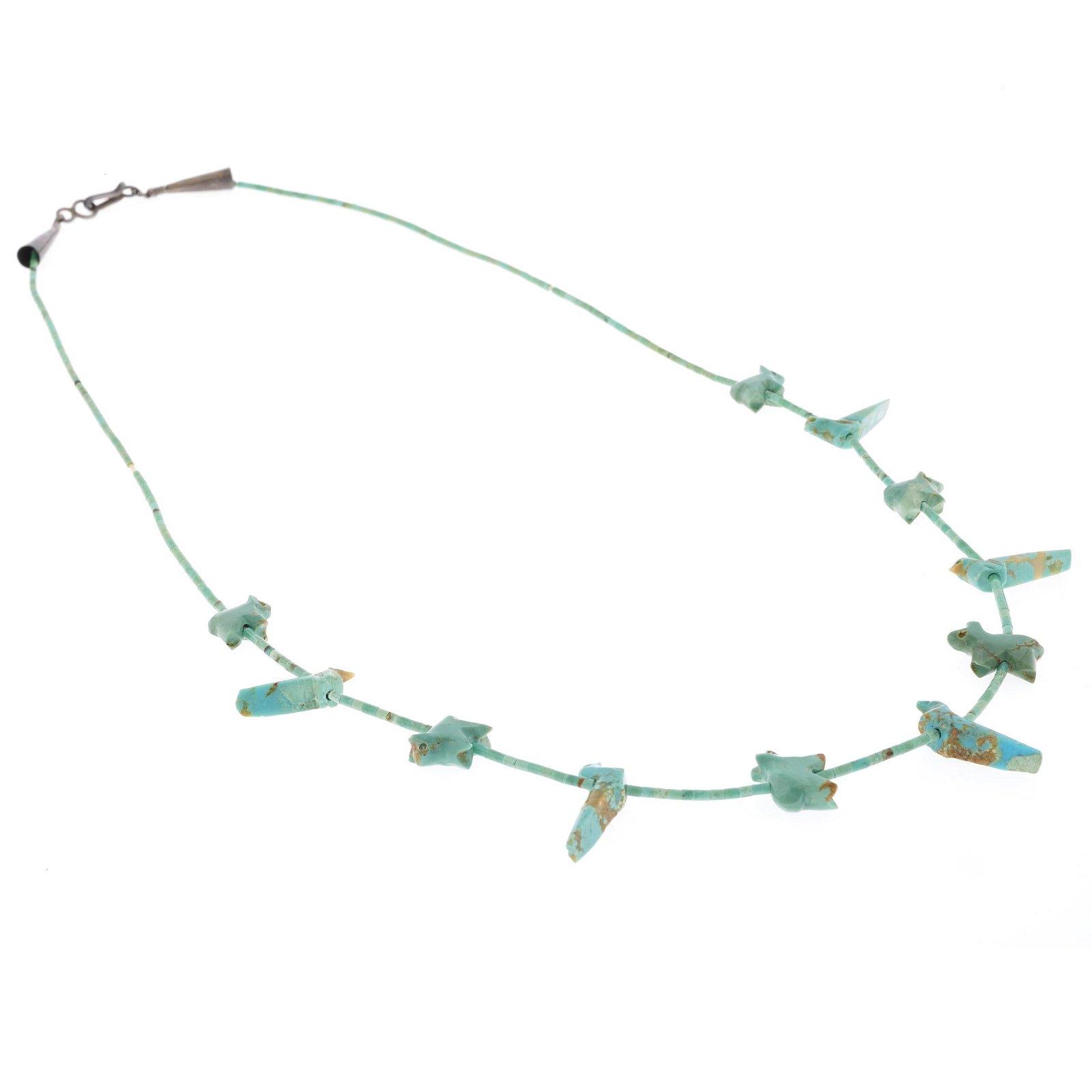 A Zuni turquoise fetish necklace