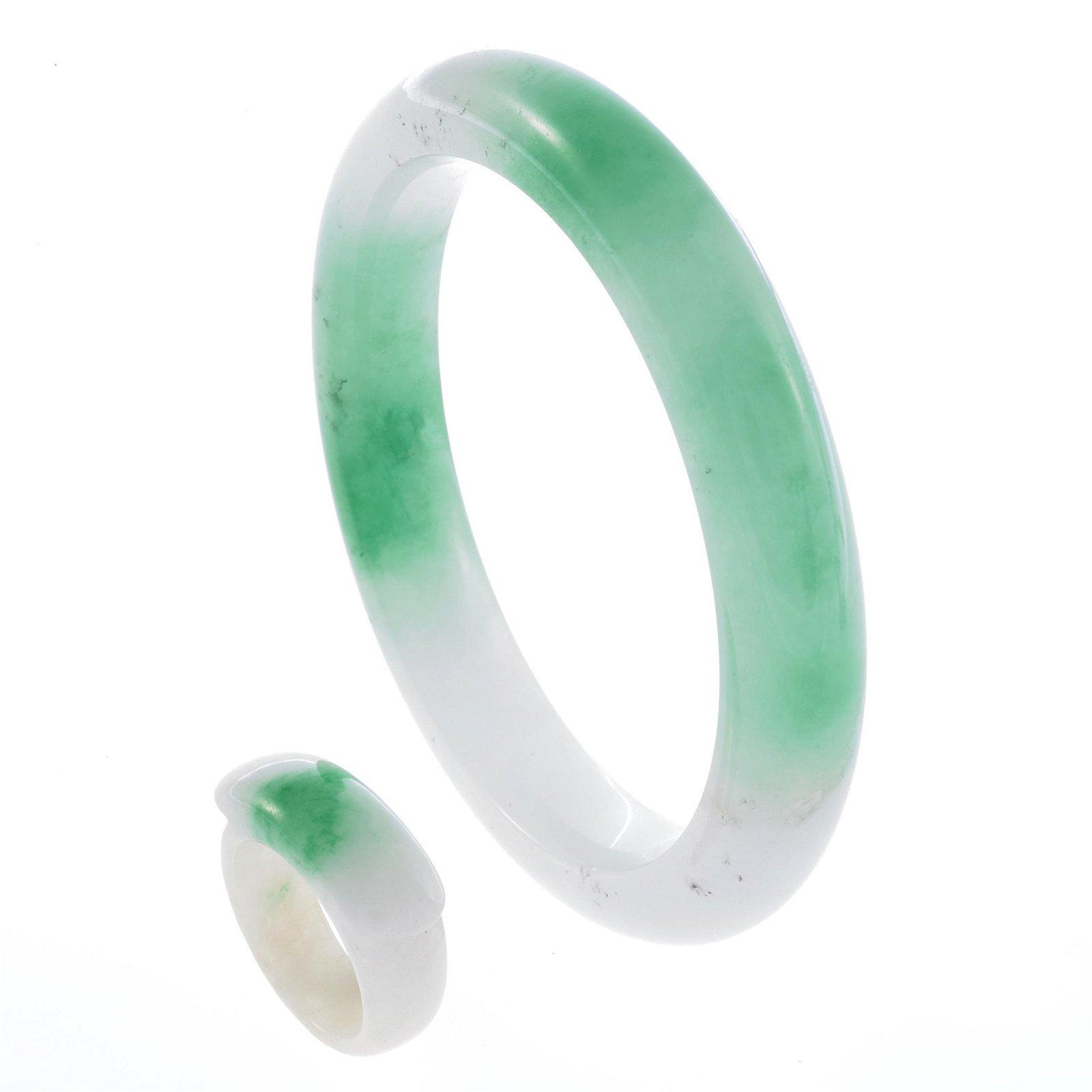 A jadeite bracelet and saddle ring