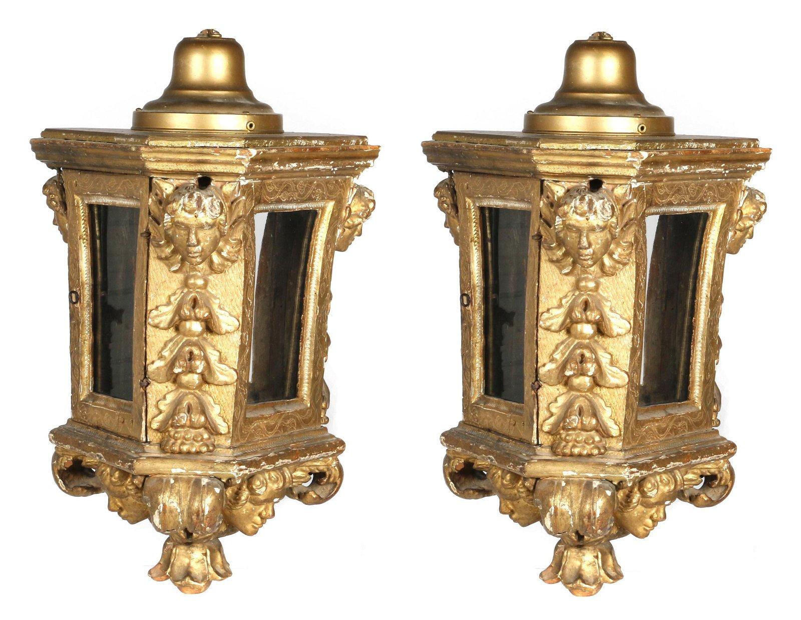 Pair of Italian Baroque gilt hall lanterns