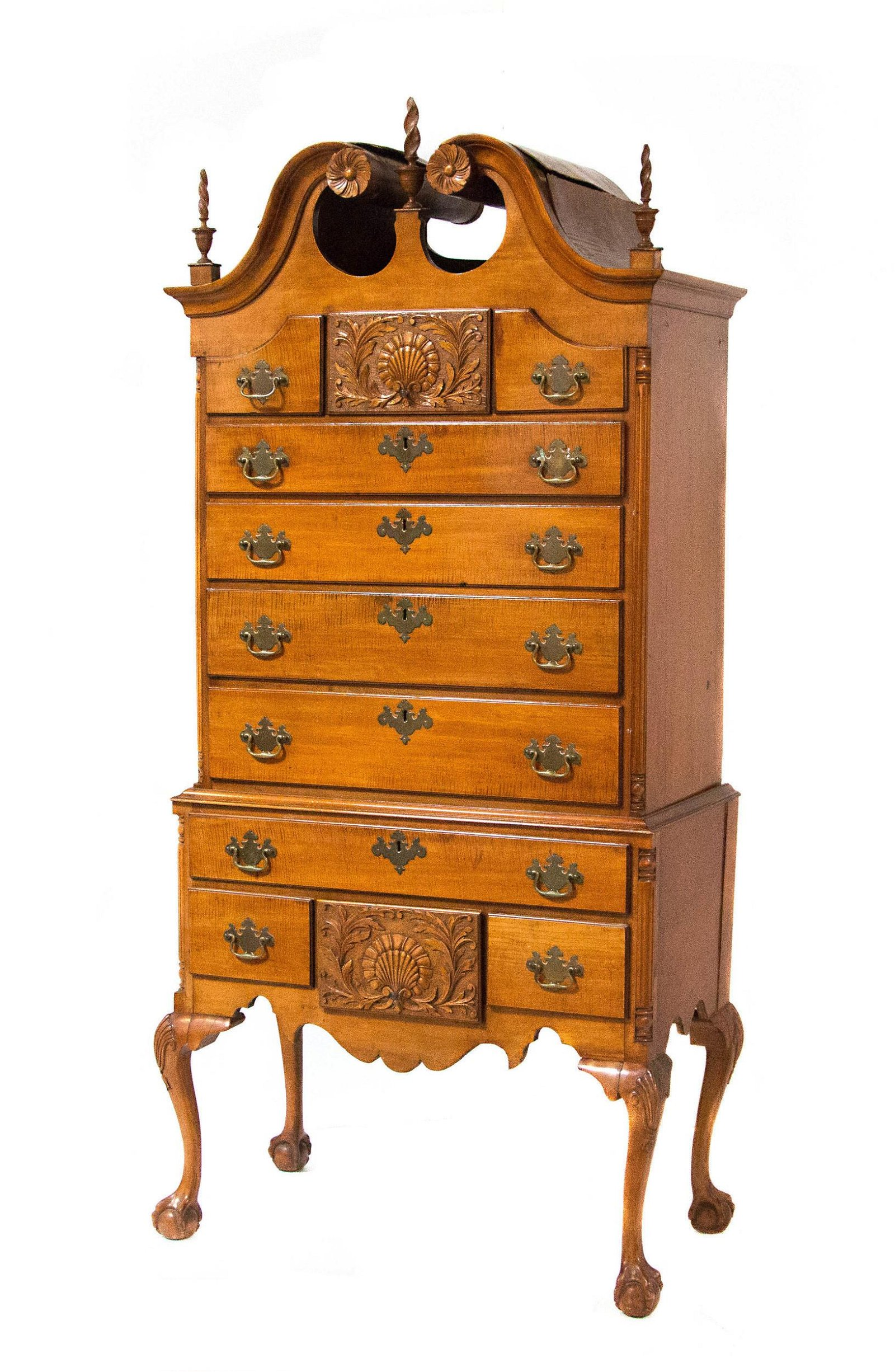 Queen Anne Maple High Chest of drawers