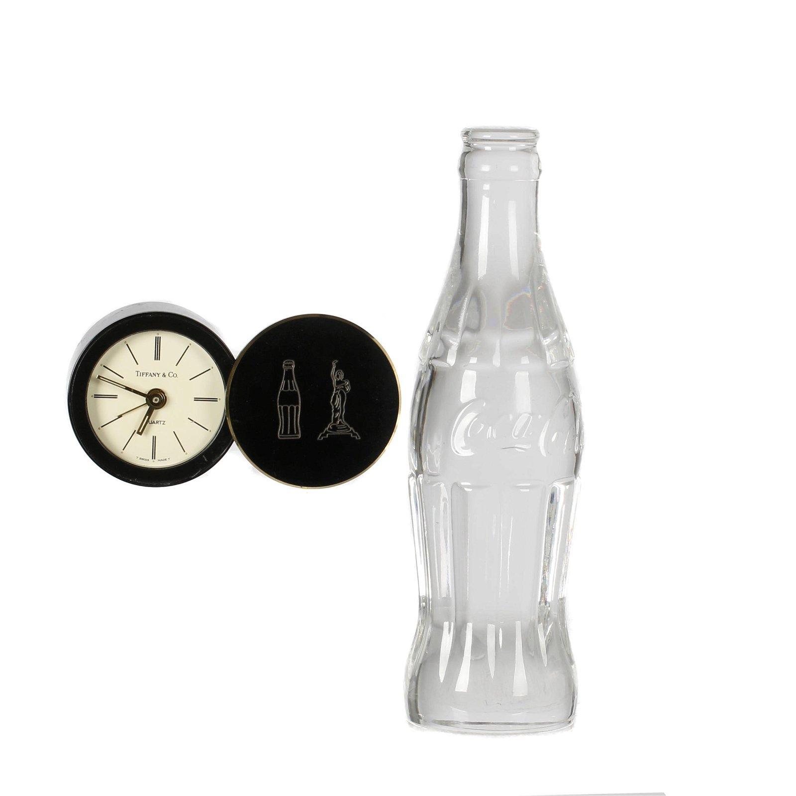 Tiffany & Co. brass desk clock;  of Coca-Cola Interest