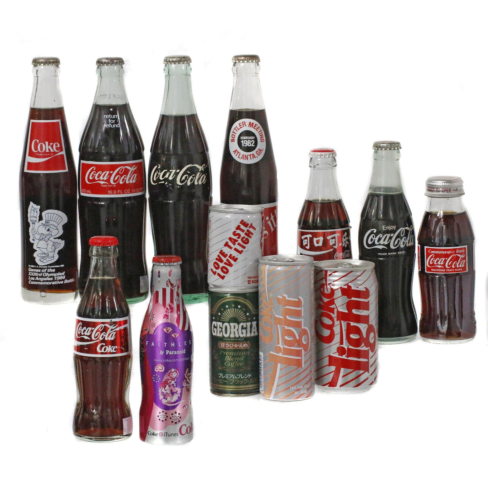 Collection of Coca-Cola Bottles & Cans