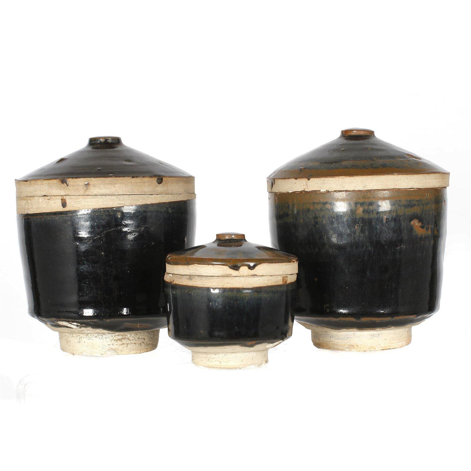 Three Black Glazed Jars, Yuan dynasty