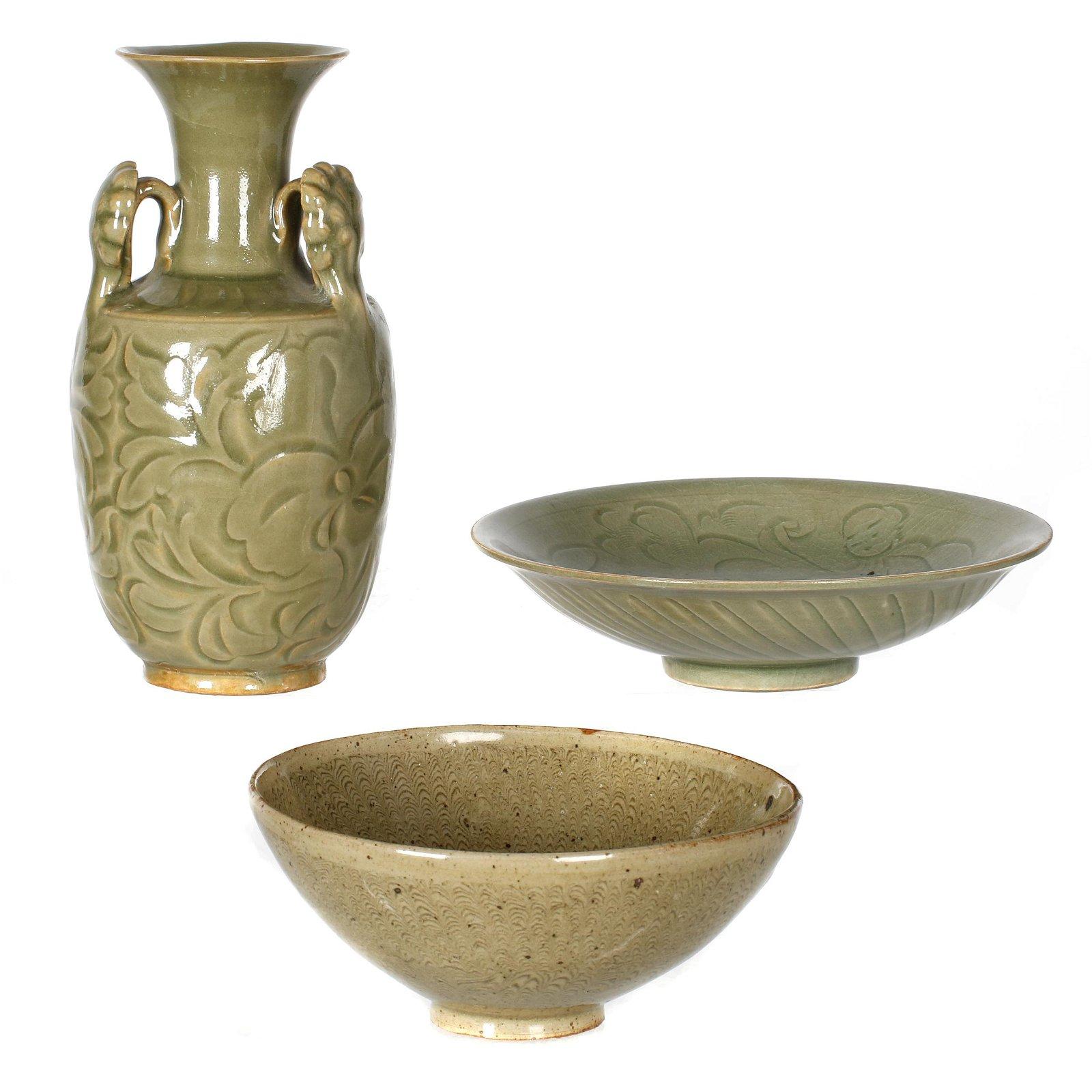 Three Yaozhou Glazed Ceramic Vessels, Song dynasty