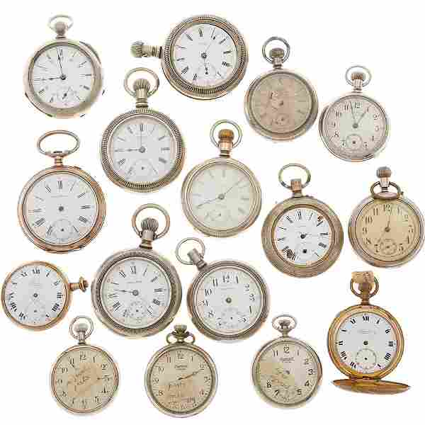 Collection of Pocket Watch Parts and Movements